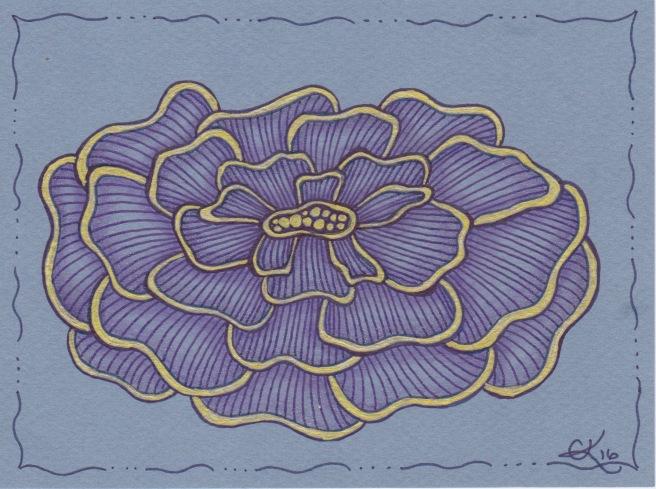 Complex String Flower - Blue Gold
