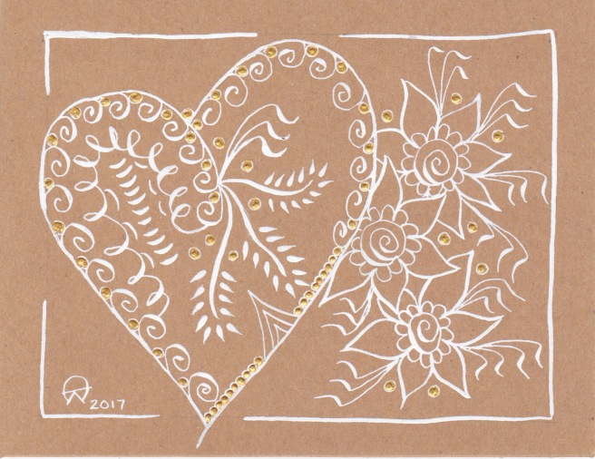 White Heart & Flowers on Kraft Card
